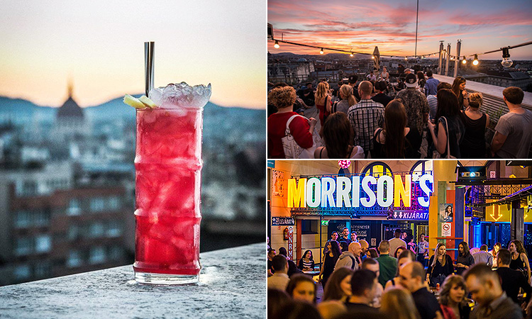 Three tiled images of a cocktail on a rooftop terrace, Morrison's bar in Budapest and a roof full of people drinking and watching the sunset