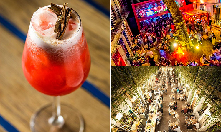 Three tiled images of a ruin bar, a red cocktail and a bird's eye view of people in a bar