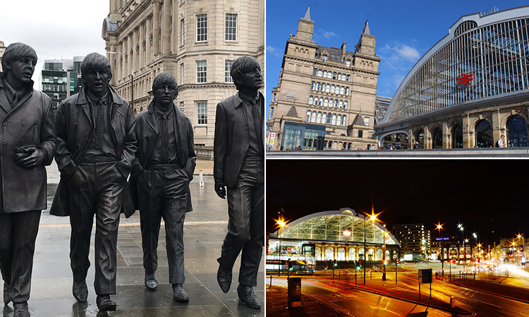 Three tiled images - two of Liverpool's train station and one of the statue of The Beatles in Liverpool