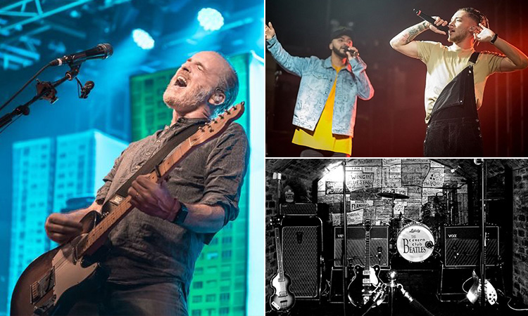 Three tiled images of people performing live music in Liverpool