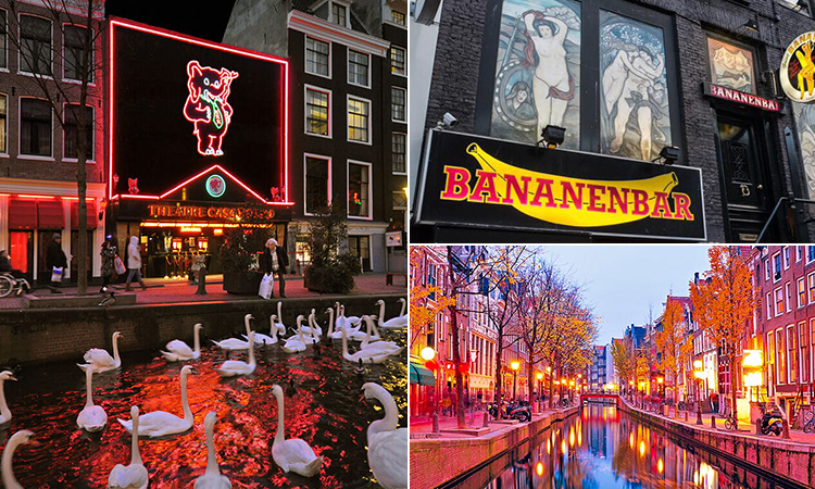 Three tiled images - including one of the canal outside The Cassa Rosso sex show, the exterior sign of the Banana Bar and a canal in Amsterdam lit-up with red lights