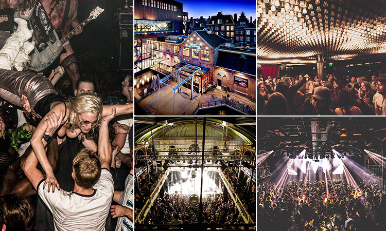 Five tiled images - including one of a woman crowd surfing, three of dance floors in a club and one of the exterior of Melkweg