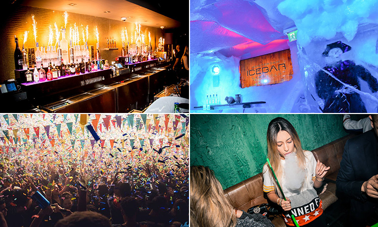 Four tiled images - including one of a woman smoking a shisha, one of people in a club, one of a bar with lit sparklers on a wall and another of the bar at Ice Bar, Amsterdam