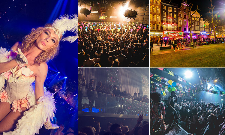 Five tiled images - including one of a woman in a white corset and feathered headress, three of people dancing in a club and people in a line outside of the club at night
