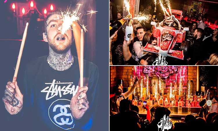 Three tiled images of a man with a sparkler in his mouth, people carrying a go kart with some alcohol inside and some sparklers on the bar with lots of bottles surrounding