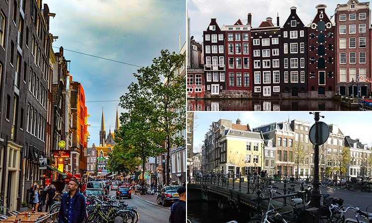 Three tiled images of streets in Amsterdam