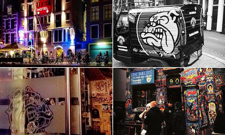 Four tiled images of The Bulldog, Amsterdam - including one of a van, two of the exterior and one of a door in the cafe