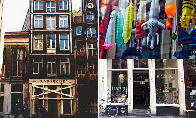 Three tiled images of the Condomerie, Amsterdam - including two of the exterior and a line of condoms in the window