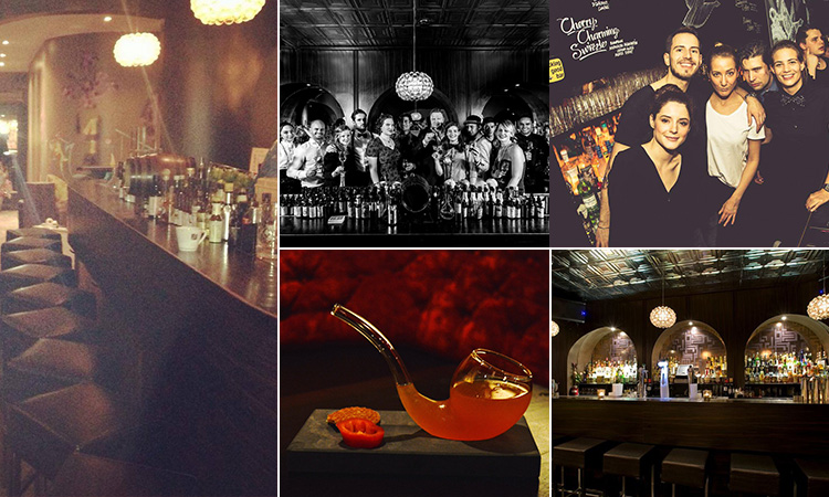 Four tiled images - including two of the bar at Door 74, Amsterdam, two of people in the club, a cocktail in a glass pipe