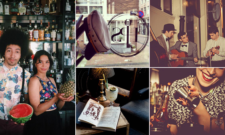 Five tiled images of the interior of Hiding in Plain Sight, Amsterdam - including two of bartenders, one of a band performing, one of a cocktail and another of a sailor's hat in the window