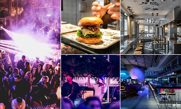 Five tiled images - including one of people dancing on a club floor, one of a burger, one of a band on stage, one of the interior of The Butcher bar, Amsterdam, and another of the restaurant at the front of the bar