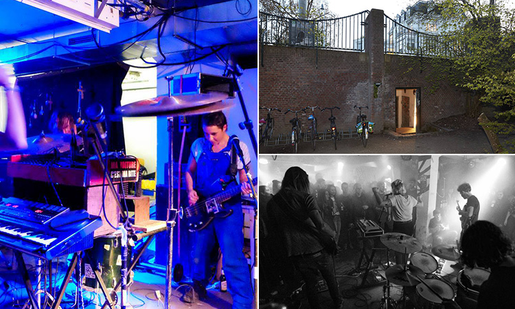 Three tiled images of Vondelbunker, Amsterdam - including two of bands performing in the bunker and one of the exterior