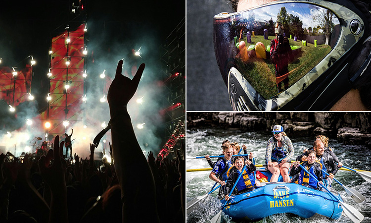 Three tiled images of people white water rafting, the reflection in a man's paintball visor and a festival at night