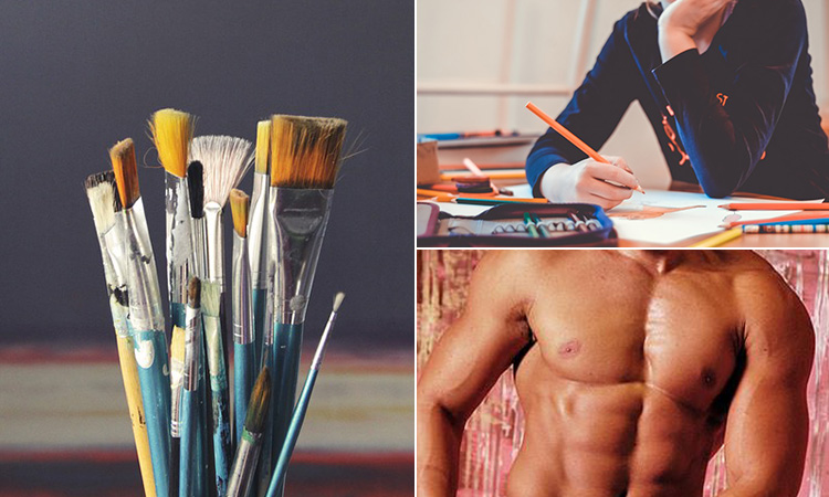 Three tiled images of some paintbrushes, a male torso and a woman drawing