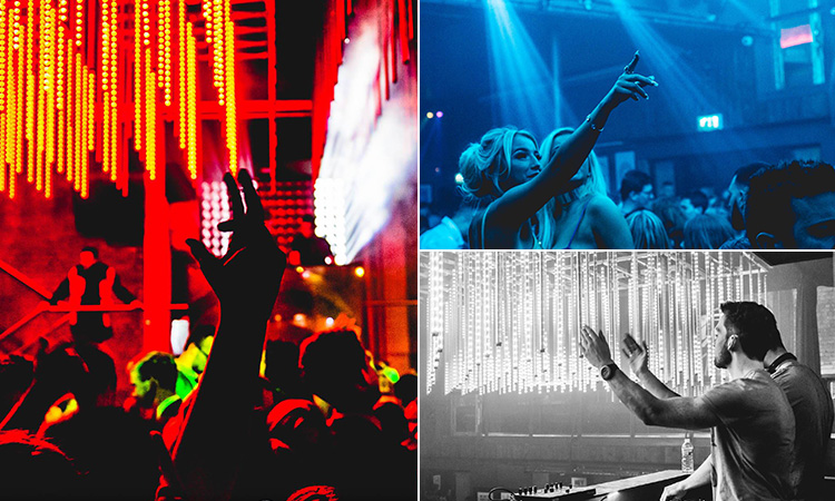 Three tiled images of people partying in nightclubs in Liverpool