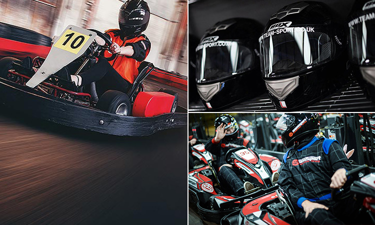 Three tiled images of people in go karts and go kart helmets on a shelf