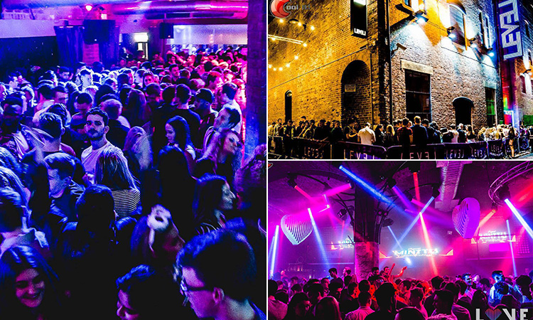 Three tiled images - two of the interiors of Level nightclub in Liverpool, and one of the exterior