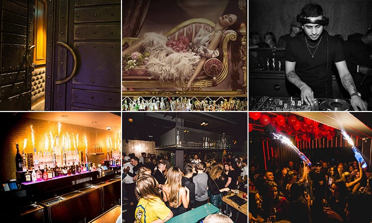 Six images of Club ABE Amsterdam - including two of the interior, one of  DJ, one of bottles with sparklers in behind the bar and two of people in the club