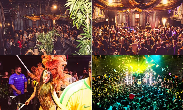 Four pictures of Air Amsterdam - including three of people in the club and one of a woman in a carnival-style outfit