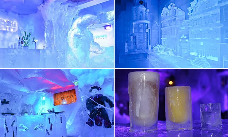 Four images of the interior of Xtracold Icebar Amsterdam