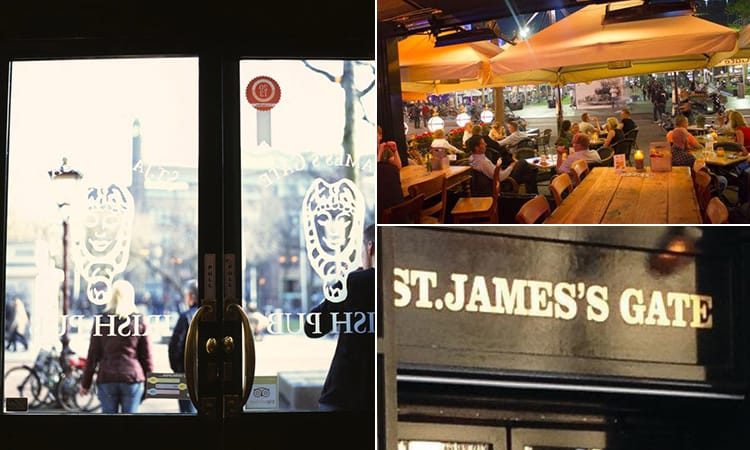 Three images of Irish Pub St James Gate, Amsterdam - including one of the glass pane door, one of people sat outside and another of the exterior sign