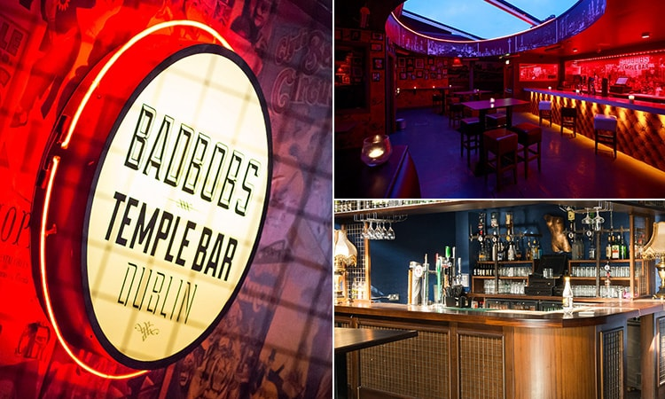Three tiled images of Bad Bobs, Dublin - including two of the roof bar and one of a Bad Bobs sign lit up on a wall