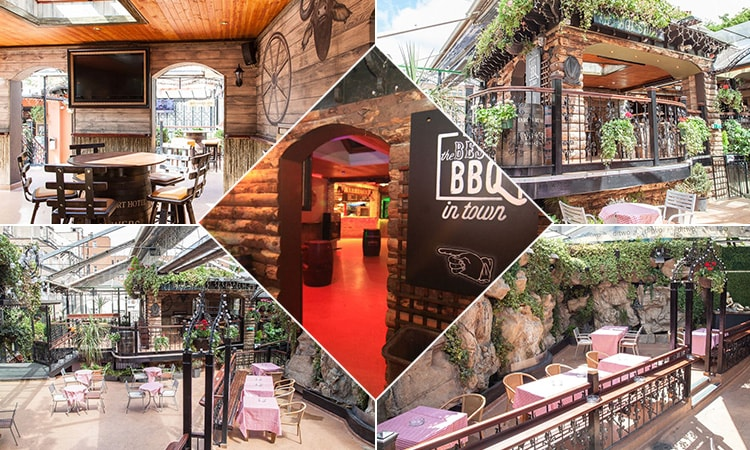 Five tiled images of the beer garden in Dtwo