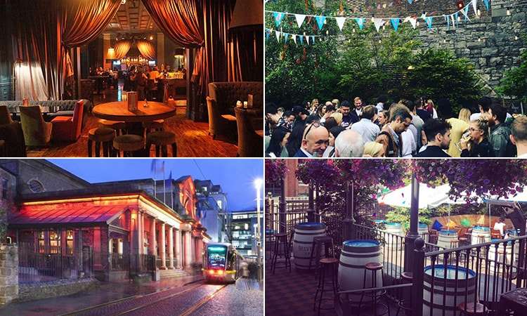 Four tiled images of Odeon, Dublin - including two of the beer garden, one of the exterior and one of the main bar