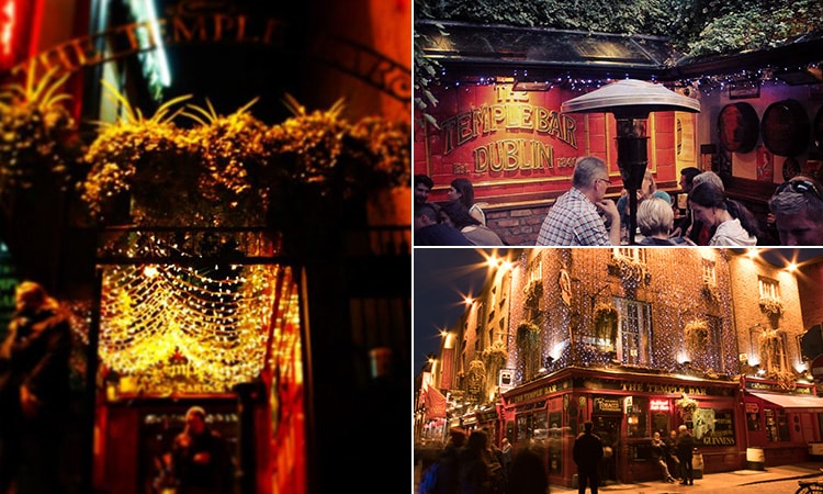 Three tiled images of The Temple Bar, Dublin - including one of the exterior, one of the entrance to the beer garden and one of the garden