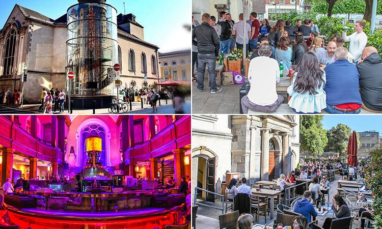 Four tiled images of The Church, Dublin - including two of the beer garden, one of the main bar to a pink and purple backdrop and one of the exterior