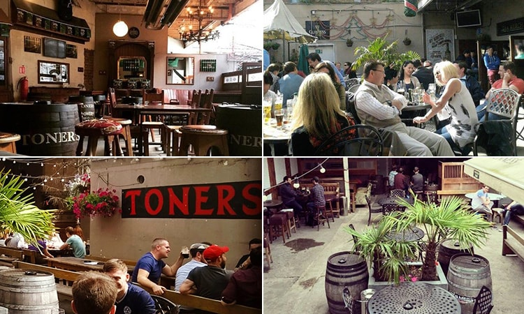 Four tiled images of Toners, Dublin - including three of the beer garden and one of the inside bar