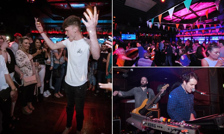 Three tiled images, one of a boy dancing in front of a crowd, one of a live band playing and one just of people on the dancefloor