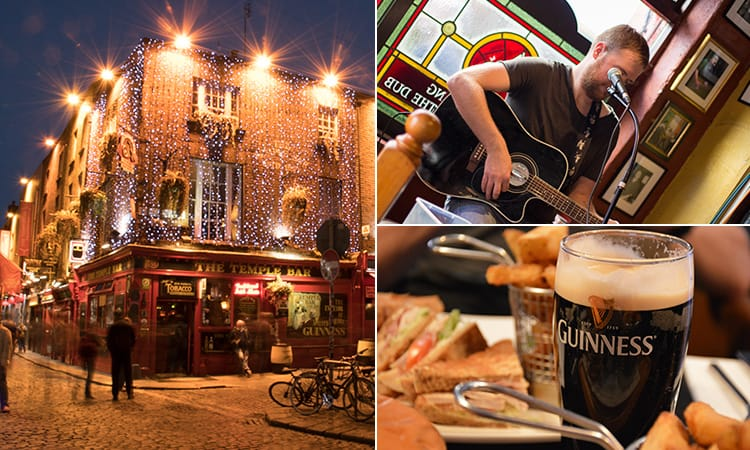 Five tiled images of different bars in Dublin, including The Hideout, Dicey's and Krystle