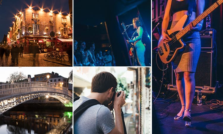 Five tiled images of different bars in Dublin including Whelan's where live music is played