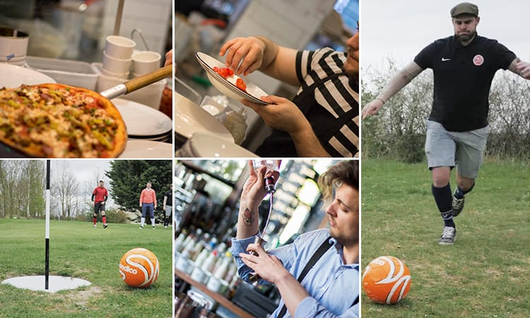 Five tiled images men playing footgolf, pizzas being served in Milano and a bartender pouring a drink