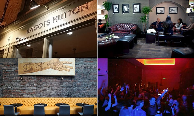 Four tiled images of Bagots Hutton, Dublin - including one of people in the bar, one of the dance floor, tables against an exposed brick wall and the exterior sign