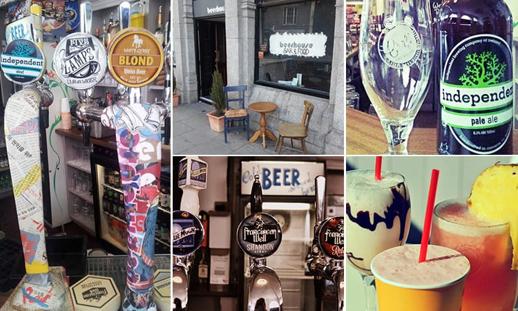 Five tiled images of the Beerhouse, Dublin - including one of drinks, beer taps and the exterior