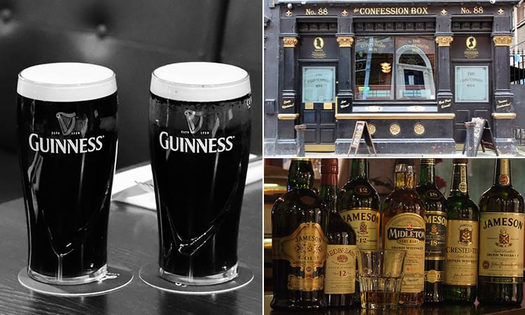 Three tiled images of The Confession Box, Dublin - including a black and white image of two pints of Guinness, bottles of whiskey and another of the bar exterior