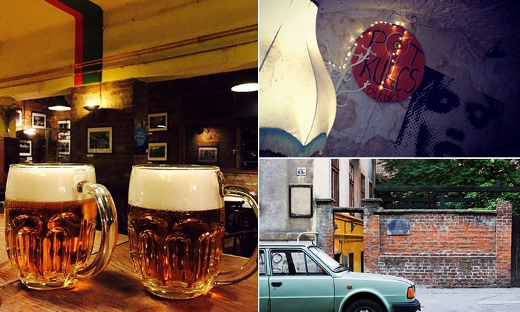Three tiled images of two steins of beer, a Potkulcs logo on the wall and a vintage car parked outside the bar