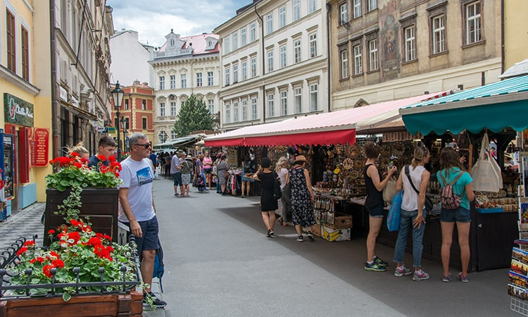 A market in a street in Prague city centre
