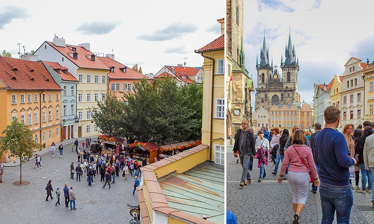 Two tiled images of streets in Prague, during the day