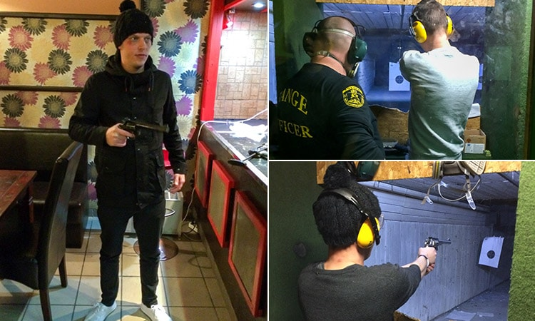 Three tiled images of LNOf at the Budapest's shooting range