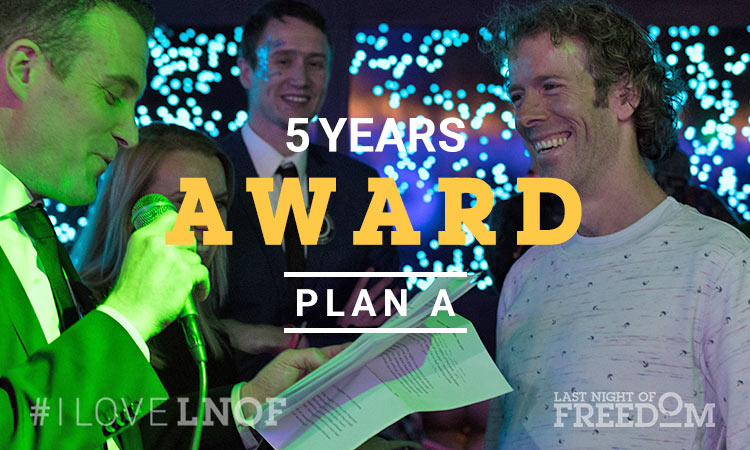 Plan A's representative accepting his Five Year Award from Matt at LNOF