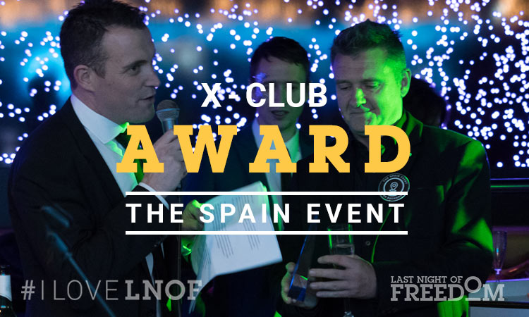 Representatives from The Spain Event accepting their X Club Award from LNOF's Matt