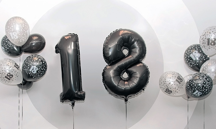 18 in balloon form against the LNOF logo