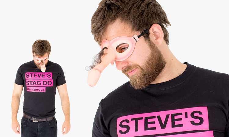 Men wearing willy eye masks