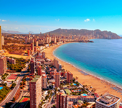 A view over the beach in Benidorm