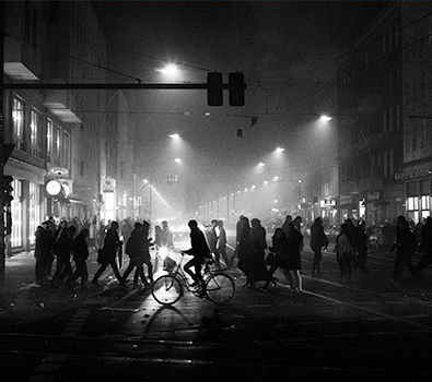 A black and white Berlin street scene