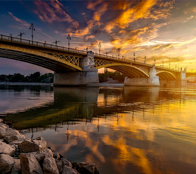 One of the iconic bridges in Budapest, over the Danube River