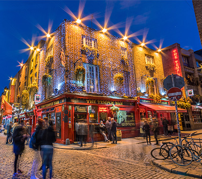 The Temple Bar in Dublin with people outside